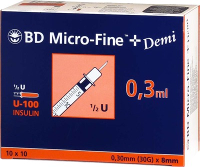 BD Micro-Fine+ Demi Insulinspritzen 0,3ml U100 0,3x8mm von Becton Dickinson GmbH Diabetes Care