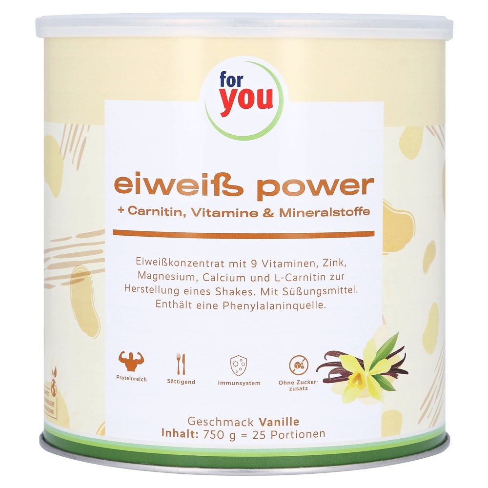 FOR YOU eiweiß power Vanille 750 Gramm von For You eHealth GmbH
