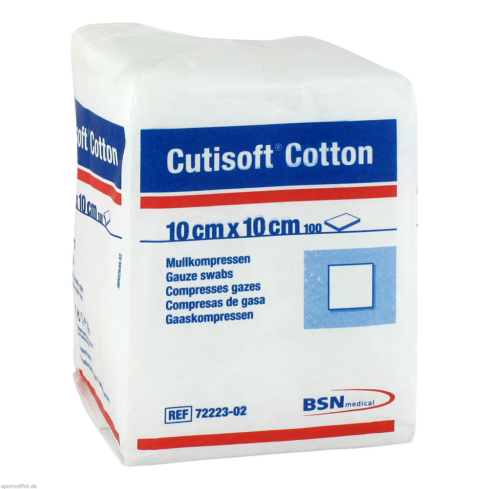 Cutisoft Cotton Mullkompressen 10 cm x 10 cm unsteril, 8-fach, 17-fädig von BSN medical GmbH