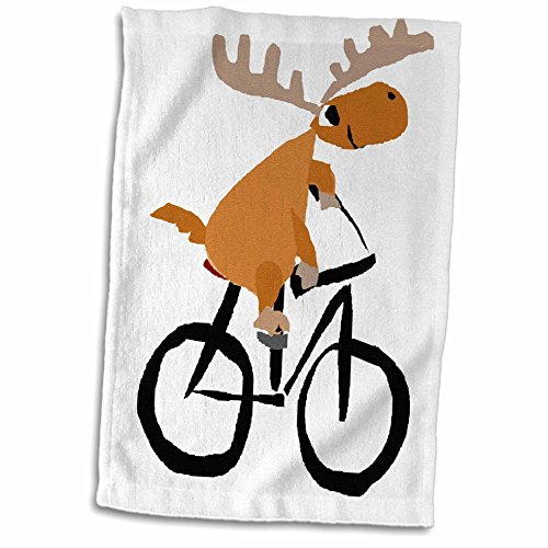 "3dRose Funny Moose Riding A Bicycle Art Handtücher, 15"" x 22"" von 3dRose"