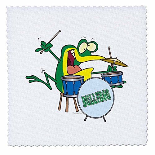 3dRose Funny Silly Cartoon Frosch Drummer Cartoon, Quilt, Platz, 6 von 6 (QS 104121 _ 2) von 3dRose
