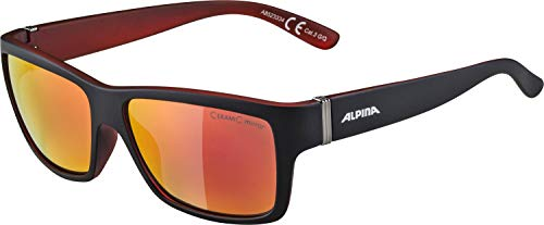Alpina Sonnenbrille Sport Style Kacey, Black matt-red, One Size von ALPINA