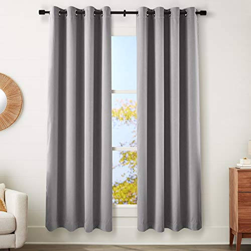 "Amazon Basics Theatre Grade Heavyweight Blackout Window Panel Pair with Grommets - (2) 52"" x 95"",Charcoal Grey von AmazonBasics"