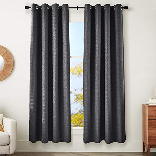 "AmazonBasics 100% Blackout Basket Weave Window Panel Pair with Total Blackout Liner and Grommets - (2) 52"" x 95"", Graphite von AmazonBasics"