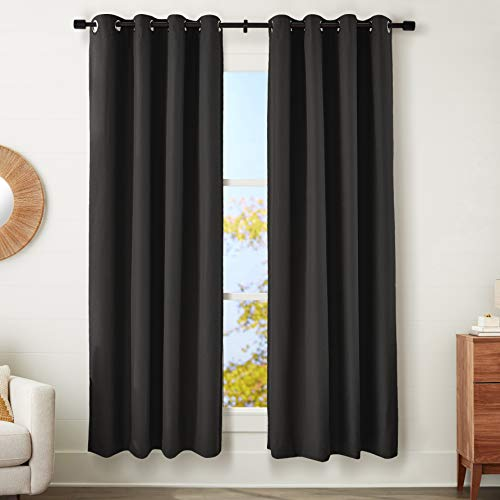"AmazonBasics 100% Blackout Mabry Window Panel Pair with Total Blackout Liner and Grommets - (2) 52"" x 84"", Black von AmazonBasics"