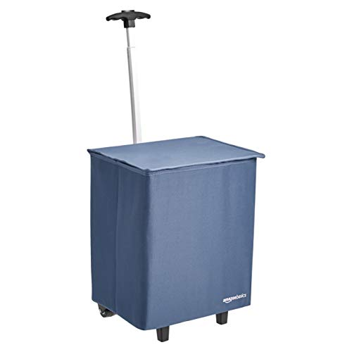 AmazonBasics Collapsible Lightweight Shopping Cart, 38 inch Handle Height, Blue von AmazonBasics
