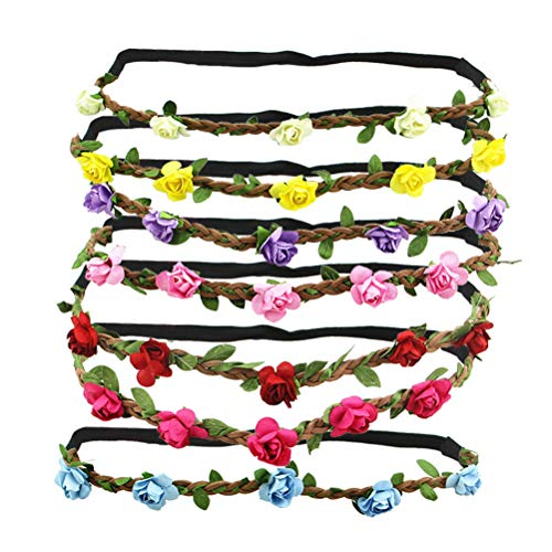 Beaupretty 7pcs Rose Flower Crown Haar Kranz Hochzeit Floral Stirnband von Beaupretty