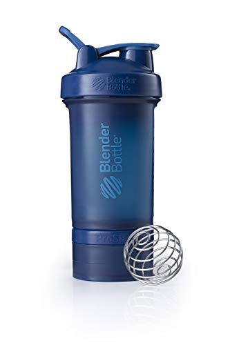 BlenderBottle ProStak Shaker | Protein Shaker| Fitness Shaker | BPA frei | mit BlenderBall | inkl. 2 Containern 150ml & 100ml +1 Pillenfach | 650ml - Navy von BlenderBottle
