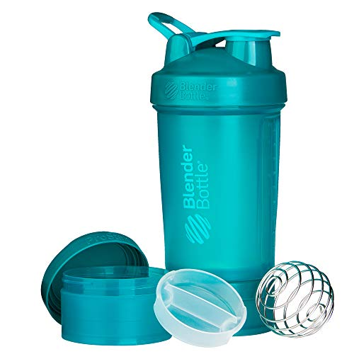 BlenderBottle ProStak Shaker | Protein Shaker| Fitness Shaker | BPA frei | mit BlenderBall | inkl. 2 Containern 150ml & 100ml +1 Pillenfach | 650ml - Teal von BlenderBottle