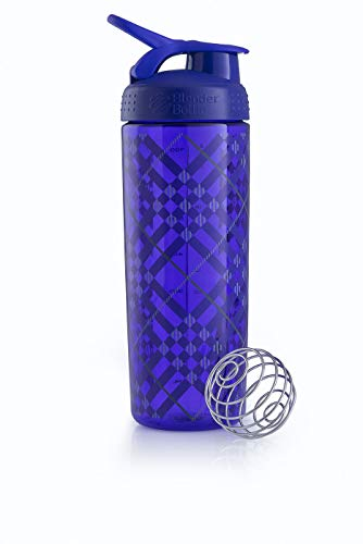 BlenderBottle Signature Sleek Shaker, Eiweiß Shaker , Wasserflasche , Protein Shaker mit Blenderball - Purple Tratan Plaid (820ml) von BlenderBottle