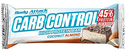 Body Attack Carb Control, Proteinriegel ohne Zuckerzusatz, Low Carb – High Protein, Eiweißriegel mit Whey, auch in der Mix-Box (Coconut-Almond, 10 x 100g) von Body Attack Sports Nutrition