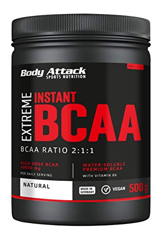 Body Attack Extreme Instant BCAA Pulver, essentielle Aminosäuren, Vegan, 500g (Natural) von Body Attack Sports Nutrition