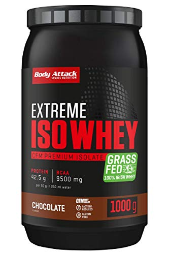 Body Attack Extreme Iso Whey, CFM Whey Protein Isolat aus 100% irischer Weidemilch, glutenfrei, reich an EAAs, perfekt löslich, fettarm, ohne Aspartam, 90,6% Isolat-Anteil (Chocolate, 1 kg) von Body Attack Sports Nutrition