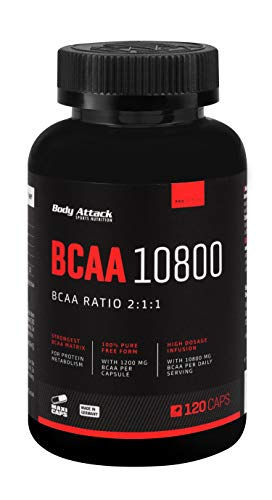 Body Attack - BCAA 10800, 120 Stk. Maxi Caps, 40 Portionen, extrem hochdosierte BCAAs (1200 mg) im Aminosäuren-Verhältnis 2 : 1 : 1 (L-Leucin : L-Valin : L-Isoleucin), Vitamin B6, Made in Germany von Body Attack Sports Nutrition