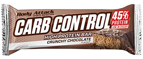 Body Attack Carb Control, Proteinriegel ohne Zuckerzusatz, Low Carb – High Protein, Eiweißriegel mit Whey, auch in der Mix-Box (Crunchy Chocolate, 4 x 100g) von Body Attack Sports Nutrition