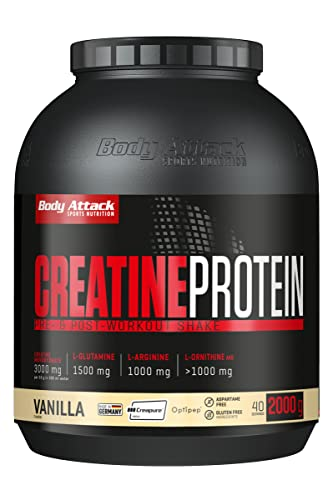 Body Attack Creatine Protein, Eiweißpulver mit Kreatin-Monohydrat - Vanilla (1 x 2kg) von Body Attack Sports Nutrition