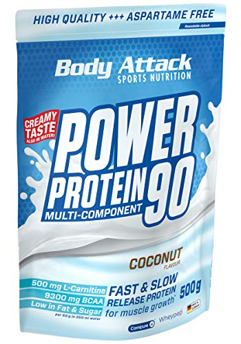 Body Attack Power Protein 90, Coconut Cream, 500g, 5K Eiweißpulver mit Whey-Protein, L-Carnitin und BCAA für Muskelaufbau und Fitness, Made in Germany von Body Attack Sports Nutrition