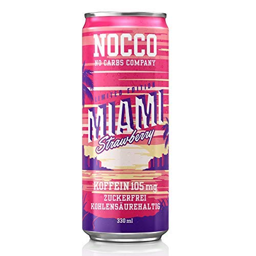 NOCCO BCAA DRINK - Miami Strawberry (6x 330ml) 6 Dosen - BCAA - 105 mg Koffein - Energy Drink - Erdbeere von Buxtrade