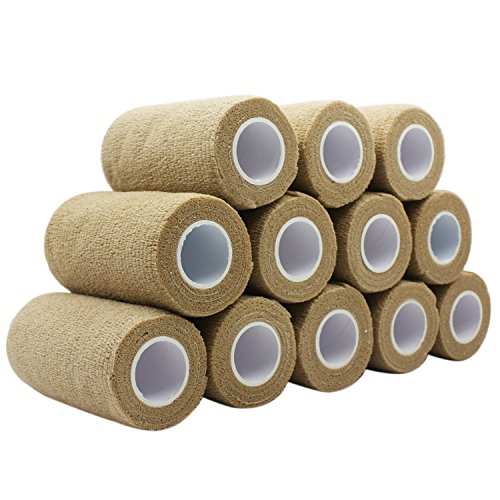COMOmed Cohesive Bandage Flexible Bandage Self-adhesive Bandage Roll Latex-free Non-woven Cohesive Athletic Tape Alleray tested Suitable for Sensitive Skin 10cm x 4.5m 12 Rolles Light Brown von COMOmed