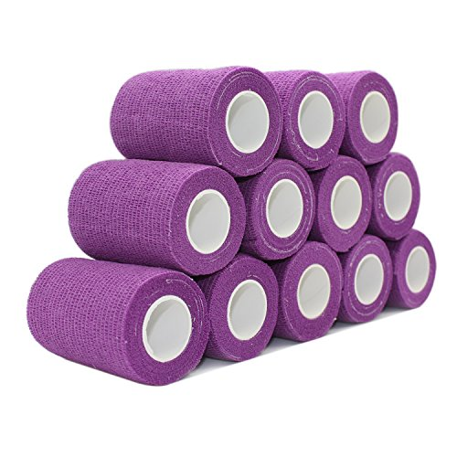 COMOmed Cohesive Bandage Flexible Bandage Self-adhesive Bandage Roll Latex-free Non-woven Cohesive Athletic Tape Alleray tested Suitable for Sensitive Skin 10cm x 4.5m 12 Rolles Purple von COMOmed