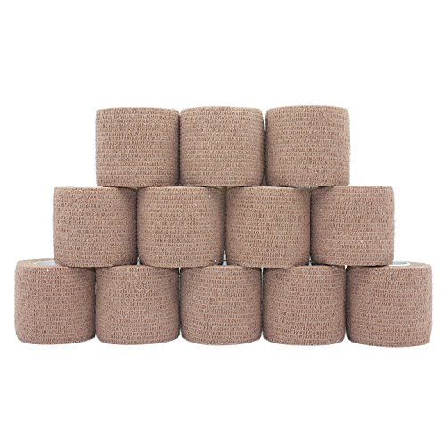 COMOmed Cohesive Bandage Flexible Bandage Self-adhesive Bandage Roll Latex-free Non-woven Cohesive Athletic Tape Alleray tested Suitable for Sensitive Skin 5cm x 4.5m 12 Rolles Brown von COMOmed