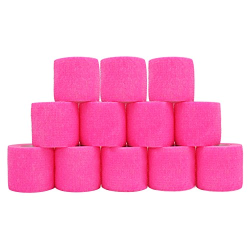 COMOmed Cohesive Bandage Flexible Bandage Self-adhesive Bandage Roll Latex-free Non-woven Cohesive Athletic Tape Alleray tested Suitable for Sensitive Skin 5cm x 4.5m 12 Rolles Pink von COMOmed