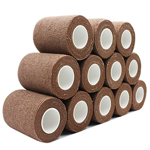 COMOmed Cohesive Bandage Flexible Bandage Self-adhesive Bandage Roll Latex-free Non-woven Cohesive Athletic Tape Alleray tested Suitable for Sensitive Skin 7.5cm x 4.5m 12 Rolles Brown von COMOmed
