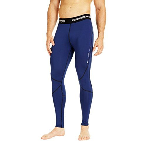 COOLOMG Herren Kompressionshose Funktionswäsche Base Layer Basketball Fußball Fitness GYM Training Tights Lang Navy M von COOLOMG