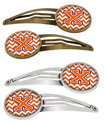 Caroline's Treasures CJ1062-XHCS4 Letter X Chevron Orange and Regalia Set of 4 Barrettes Hair Clips, OS, multicolor von Caroline's Treasures
