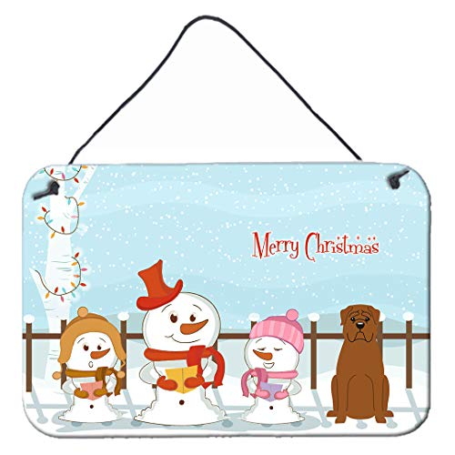 Caroline 's Treasures bb2404ds812 Merry Christmas Carolers Dogue de bourdeaux Wand oder Tür Aufhängen Prints, 20,3 x 30,5 cm Multicolor von Caroline's Treasures