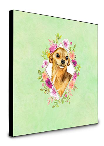 Carolines Treasures Chihuahua #1 Green Flowers Artwork Panel Wanddekoration, Mehrfarbig von Caroline's Treasures