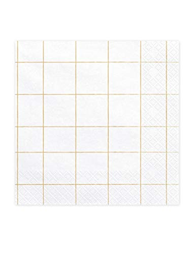 20 Servietten Karo, white, 33x33cm (1 pkt / 20 pc.) SP33-35-019 von Color-Up.Shop