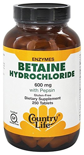 Betainhydrochlorid, mit Pepsin, 600 mg, 250 Tabletten - Country Life von Country Life