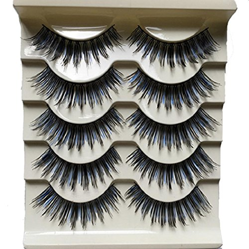 5 Pairs Long Thick Black and Blue False Eyelashes Night Club Dancing Eye Lashes von DAEDALUS®