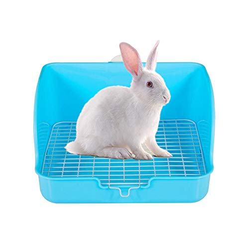 DC CLOUD Kaninchen Toilette Hasen Zubehör Cat Litter Tray Rat Litter Tray Guinea Pig Toilet Hamster Cage Tray Rabbit Litter Tray Pellets Rabbit Litter Box Blue von DC CLOUD