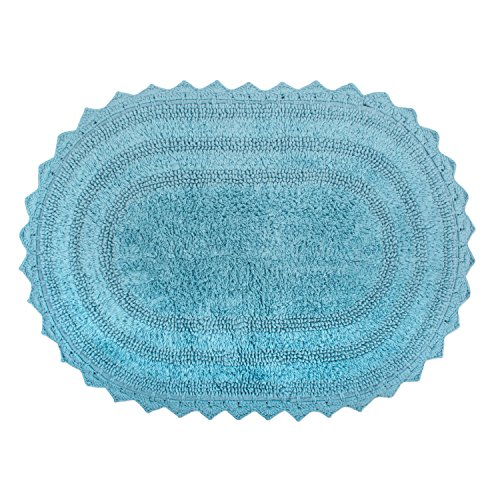DII Crochet Collection Bath Mat, Small Oval, 17x24, Cameo Blue von DII