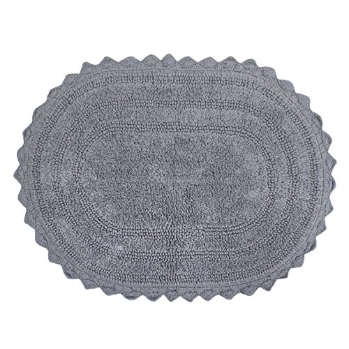 DII Crochet Collection Bath Mat, Large Oval, 21x34, Gray von DII