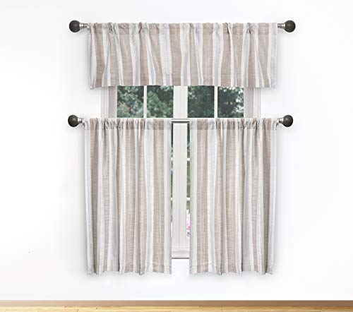 Home Maison - Rhett Striped Faux Linen Textured Kitchen Tier & Valance Set | Small Window Curtain for Cafe, Bath, Laundry, Bedroom - (Beige & White) von Duck River Textile