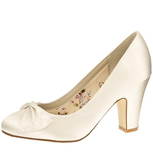 Rainbow Club Brautschuhe Dinah Ivory Satin (Bliss) (3.5) von Rainbow Club