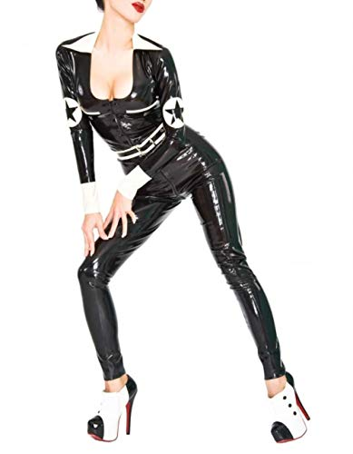 Erotische UnterwäscheLatex Uniform Catsuit With Belt Latex Tight Sexy Costumes For Women Front Zip Latex Suit-White_XXS von Eotiocehy