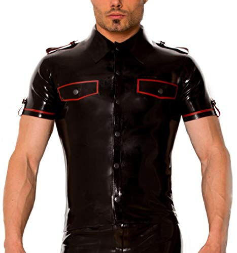 Latex Schwarz & Rot Uniform Shirt Latex Herren Top Kostüme-Transparentes Lila_XL von Eotiocehy