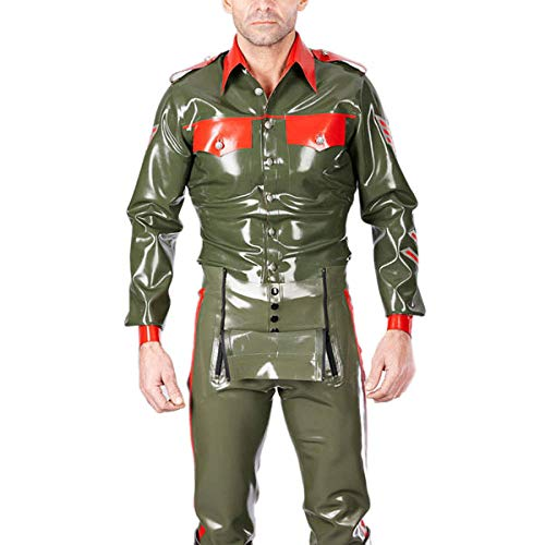 Leder erotische UnterwäscheSailor Latex Kostüme Latex Gummi Uniformjacke Mit Latex Jeans Gummi Latex Uniform Anzug-Light_Green_S_Other von Eotiocehy