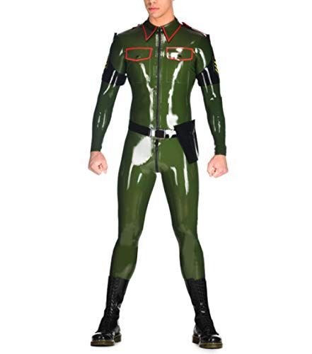 Lederunterwäsche für DamenLatex Rubber Uniform Bodysuit Rubber Latex Catsuit(No Belt &Waist Pocket)-White_XL_Other von Eotiocehy