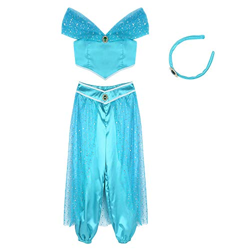 Unterwäsche & Dessous für Damen Damen Anime Princess Outfit Glitzernde reflektierende Kostüm aus Schulter Crop Top mit Hosen Halloween Cosplay Party Dress Up-Blue_XXL von Eotiocehy