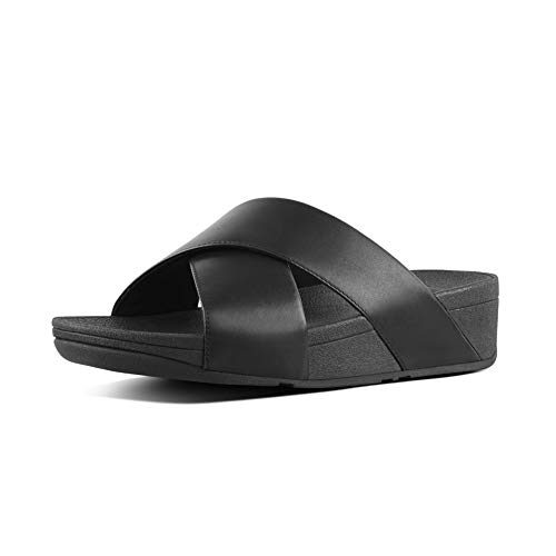 FitFlop Damen LULU Cross Slide Leather Peeptoe Sandalen, Schwarz (Black 001), 36 EU von FitFlop