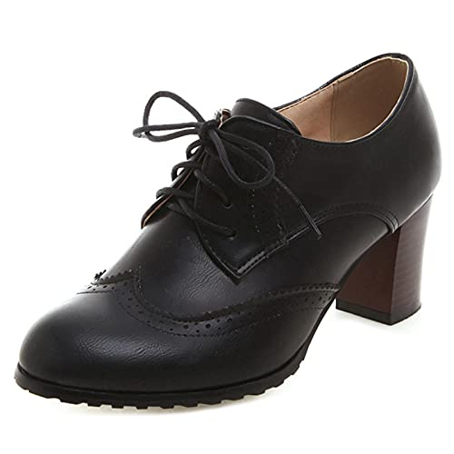 FitWee Vintage Spring Schuhe Low Top Block Mid Heels Damen Brogues Wingtip Oxford Schuhe Schnüren Mädchen Schule Schuhe Lack Black Gr 38 Asian von FitWee