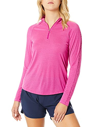 Greg Norman Damen L/s Ruched Lurex 1/4-zip Mock Polo Langärmelig, Velvet Berry, Small von GREG NORMAN