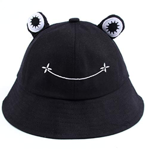 GROOMY Fisherman's Hat, Foldable Cotton Frog Bucket Hat Summer Sunscreen Fisherman Cap Hunting Sunhat-Black von GROOMY