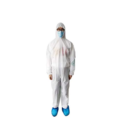 Garneck Disposable Coveralls Protective With Elastic Cuffs Ankles And Waist Zip Front Opening For Spray Painting Surgical Cleaning Work White, Size L) von Garneck