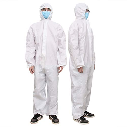 Garneck Disposable Coveralls Protective With Elastic Cuffs Ankles And Waist Zip Front Opening For Spray Painting Surgical Cleaning Work White, Size XL) von Garneck